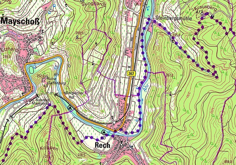 Karte, Kartenausschnitt, AhrSteig-Lückenschluss: Dieser Kartenausschnitt zeigt den Verlauf des neuen AV im oberen Bereich von Rech